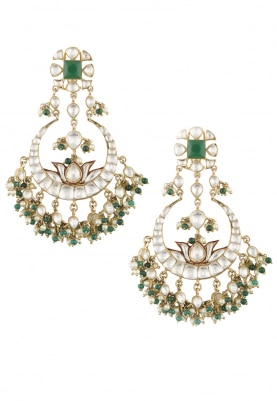 22k Gold Plated Kundan and Emerald Stone Crescent Earrings