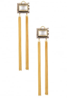 22k Gold Plated Kundan Square Top Fringes Earrings