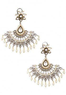22k Gold Plated Kundan and Baguettes Crescent Earrings