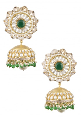 22k Gold Plated Kundan, Polki and Zirconia Jhumki Earrings