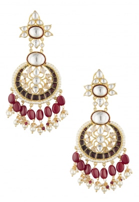 22k Gold Plated Kundan and Red Beads Earrings