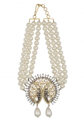 22k Gold Plated Kundan and Polkis Pendant Pearl Choker