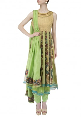 Green Gold Anarkali, Pants, Dupatta
