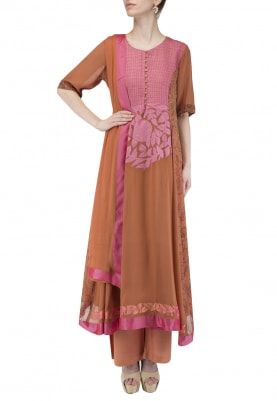 Rust Anarkali Panel and Pants