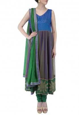 Blue Purple Silk Kurta and Churidar