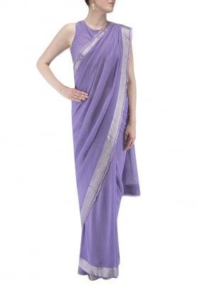 Purple Saree with Jacket Style Blouse
