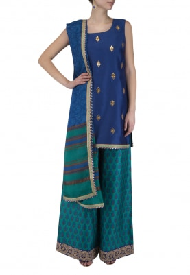 Royal Blue Embroidered Short Kurta With Printed Palazzo Pants Set