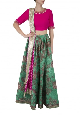 Pink Embroidered Blouse With Printed Lehenga Set