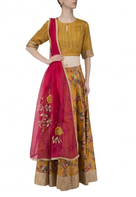 Honey Mustard Embroidered Blouse With Apricot Printed Lehenga Set
