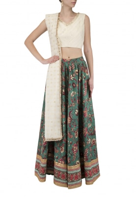 Beige Embroidered Blouse With Green Printed Lehenga Set
