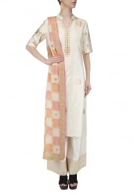 Beige Embroidered Kurta With Palazzo Pants Set