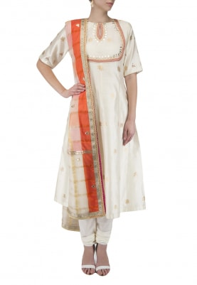 Off White Embroidered Kalidaar Kurta Set