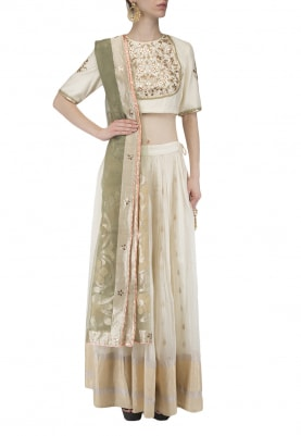 Beige Gota Patti Embroidered Lehenga Set
