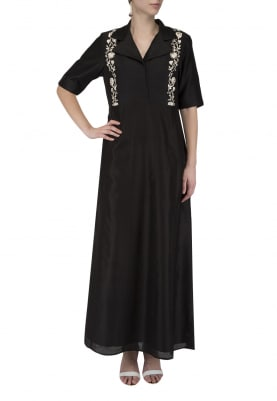 Black Embroidered Panelled Dress