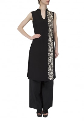 Black Embroidered Tunic With Palazzo Pants Set