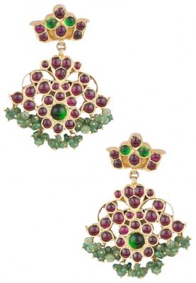 Gold Finish Green and Red Kempstones Dangler Earrings