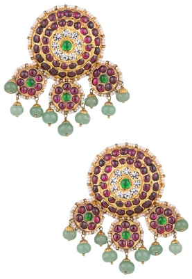 Gold Finish Red and Green Kempstones Studs