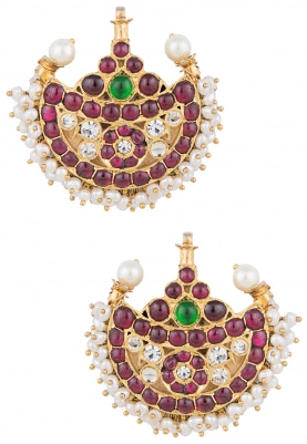 Gold Finish Kempstones and Ruby Jewel Crescent Earrings