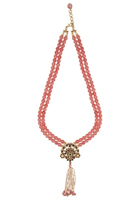 Gold Finish Red and Pink Kempstones Pendant