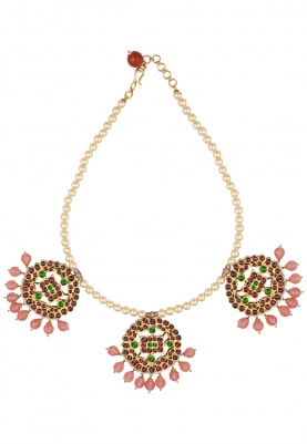 Gold Finish Red, Pink and Green Kempstones Stuuded Pendant Choker