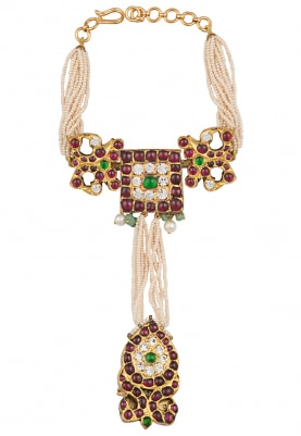 Gold Plated Pearls and Ruby Studded Haathphool