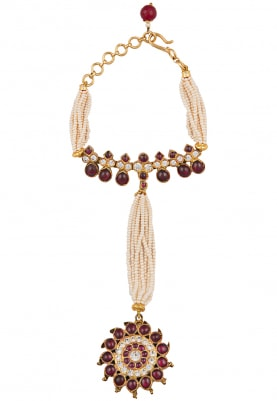 Gold Plated Pearl String Haath Phool