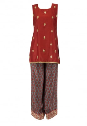 Red Embroidered Short Kurta With Printed Palazzo Pants Set