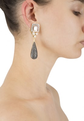 22k Gold Plated Kundana and Zirconia Earrings