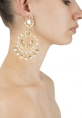 22k Gold Plated Kundan and Polki Crescent Earrings