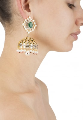 22k Gold Plated Kundana and Emerald Jhumki Earrings