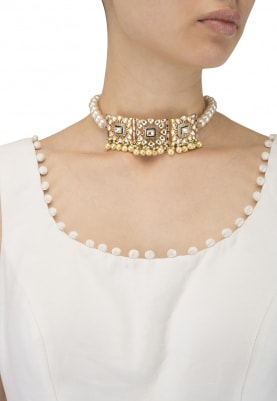 22k Gold Plated Jadau Kundan and Zirconia Choker