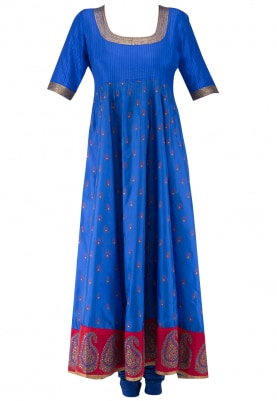 Blue Anarkali and Churidar