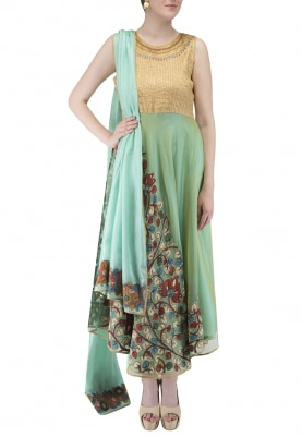 Blue Gold Anarkali, Pants, Dupatta