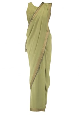 Olive Green Saree with Jacket Style Blouse