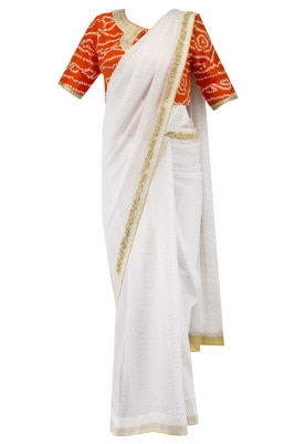 White Chiffon Saree and Bandhani Blouse