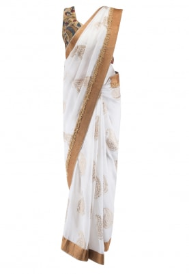 White Chiffon Saree and Kalakari Blouse