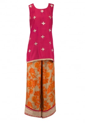 Pink Embroidered Short Kurta With Printed Palazzo Pants Set