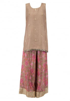 Beige Embroidered Short Kurta With Printed Palazzo Pants Set
