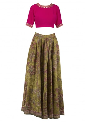 Pink Embroidered Blouse With Lime Green Printed Lehenga Set