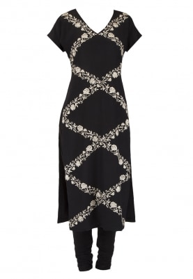 Black Trellis Pattern Embroidered Kurta Set