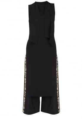 Black Tunic With Embroidered Culottes