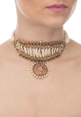 Gold Finish Red, Green and White Stones Choker