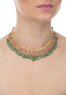 Gold Finish Emerald Temple Choker