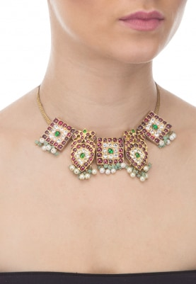 Gold Finish Green and Red Kempstones Traditional Choker