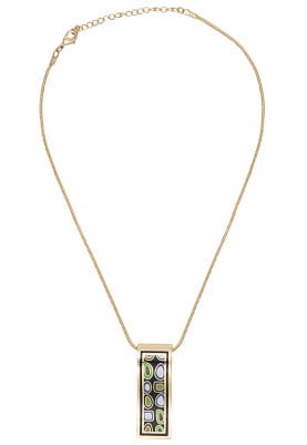 Gold Plated Rectangular Wave Design Pendant Set