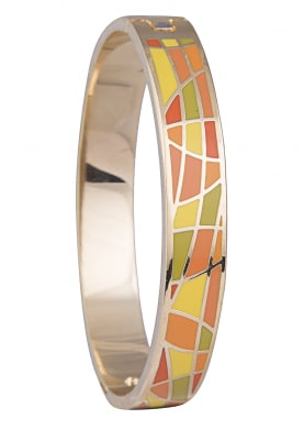 Gold Plated Green, Yellow and Orange Geometric Design Bracelet