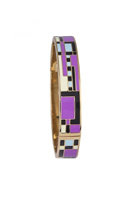 Gold Plated Purple, Black, Blue Geometric Design Bracelet