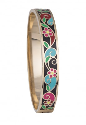 Gold Plated Multicolor Floral Design Bracelet