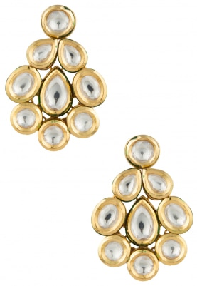 Gold Plated Kundan Studed Dramatic Studs
