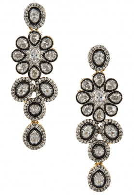 Antique Finish Cz Stone Floral Danglers
